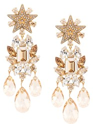 Dolce And Gabbana Star Embellished Raindrop Earrings Gold
