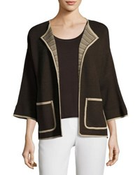 Ming Wang Contrast Trim Open Front Jacket Brown