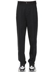 Versace 18Cm Pleated Wool Pants Black