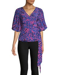 Tracy Reese Silk Blend Wrap Blouse Cobalt Multi