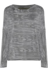 Enza Costa Printed Stretch Jersey Top Gray