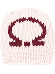 Salvatore Ferragamo Gancio Knitted Beanie Pink And Purple