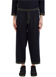 Marvielab Tartan Trim Reversible Wool Pants Navy