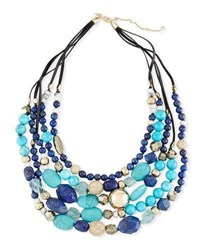 Alexis Bittar Lapis Chrysocolla And Pyrite Beaded Necklace Multi
