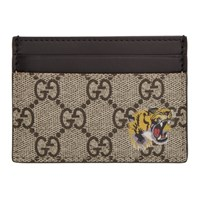 Gucci Beige Gg Supreme Tiger Card Holder