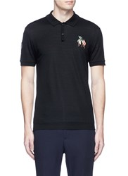Lanvin Arrow And Floral Patch Polo Shirt Black