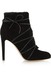 Gianvito Rossi Shearling Lined Suede Ankle Boots