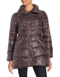 Karl Lagerfeld Packable Mid Length Puffer Down Coat Anthracite