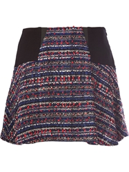 Thakoon Addition Flared Tweed Mini Skirt Blue