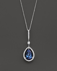 Bloomingdale's Tanzanite And Diamond Teardrop Pendant Necklace In 14K White Gold 16 Blue