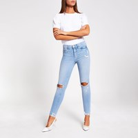 River Island Light Blue Ripped Molly Mid Rise Jeggings