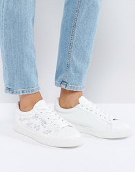 New Look Jewelled Lace Up Trainer White
