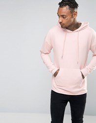 Sixth June Oversized Lightweight Hoodie With Raw Hem Stone Pink