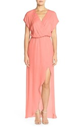 Women's Maids Rory Beca 'Plaza' Faux Wrap Silk Georgette Cutaway Gown Coral