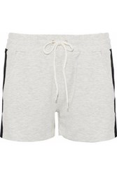 Monrow M Lange Two Tone Terry Shorts Light Gray