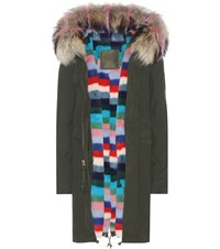 Mr And Mrs Italy London Fur Lined Cotton Parka With Fur Trimmed Hood Green