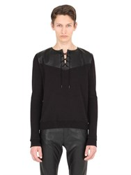 Saint Laurent Leather And Cotton Sweatshirt
