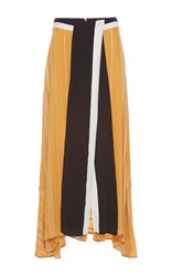 Zeus Dione Anthea Front Slit Maxi Skirt Yellow