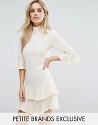 John Zack Petite Smock Dress With Fluted Sleeve Vintage Cream