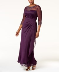 Xscape Evenings Plus Size Embellished Illusion Ruched Gown Plum
