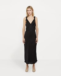 Raquel Allegra Liquid Satin Bow Maxi Dress