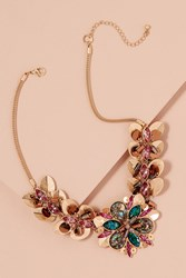 Anthropologie Ansara Jewelled Floral Necklace Gold