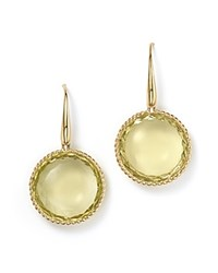 Roberto Coin 18K Yellow Gold Ipanema Round Earrings With Lemon Quartz Lemon Gold