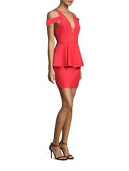 Milly Simona Cold Shoulder Peplum Dress Red