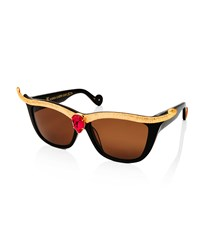 Anna Karin Karlsson Empress Embellished Square Sunglasses W Crystal Center Black Ruby Red