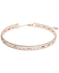 Anne Klein Rose Gold Tone Three Row Crystal Choker Necklace