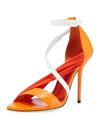 Multi Strap High Heel Sandal Orange White Versace