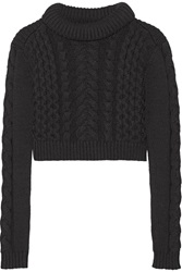 Tibi Cropped Cable Knit Sweater