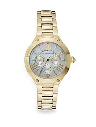 Saks Fifth Avenue Mother Of Pearl Chronograph Dial Goldtone Watch