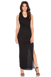 Bobi Tissue Jersey Draped Asymmetrical Maxi Dress Black