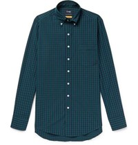 Drakes Slim Fit Button Down Collar Black Watch Checked Cotton Shirt Green