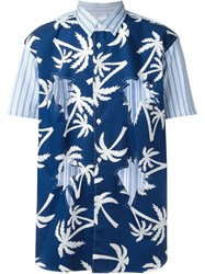 Comme Des Gara Ons Shirt Palm Trees Print Cut Out Shirt Blue