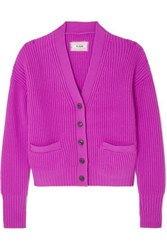 Re Done Ribbed Wool And Cashmere Blend Cardigan Magenta