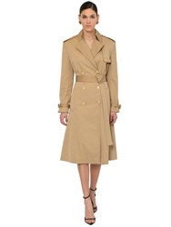 Versace Cotton Canvas Trench Coat Camel