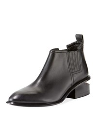 Alexander Wang Kori Low Heel Leather Suede Booties Black