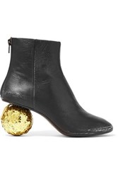 Maison Martin Margiela Mm6 Distressed Glittered Textured Leather Ankle Boots Black