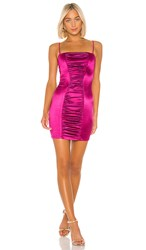Nookie Tease Satin Mini Dress In Pink. Fuchsia