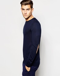 United Colors Of Benetton Silk Mix Knitted Crew Neck Jumper With Elbow Patches Navy06u