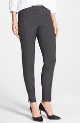 Petite Women's Halogen 'Taylor' Stretch Pinstripe Suiting Pants Grey Pinstripe Pattern