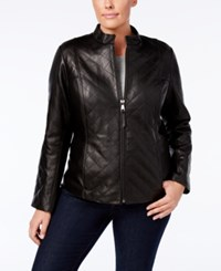 Jones New York Plus Size Quilted Leather Jacket Black