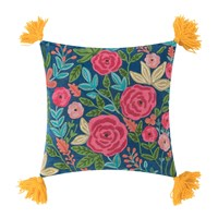 Ian Snow Roses Embroidered Cushion With Tassels 45X45cm Mustard