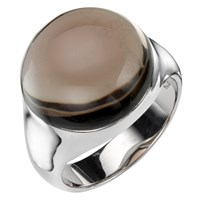 A B Davis Sterling Silver Semi Precious Bubble Stone Ring Smoky Quartz