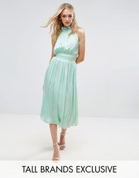 Little Mistress Tall Ruched Pleated Midi Prom Skater Dress Mint Green