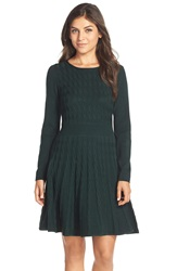 Eliza J Cable Knit Fit And Flare Sweater Dress Dark Green