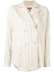 Romeo Gigli Vintage Striped Oversized Shirt Nude And Neutrals