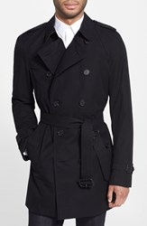 Burberry Men's Big And Tall London Kensington Double Breasted Trench Coat Black New